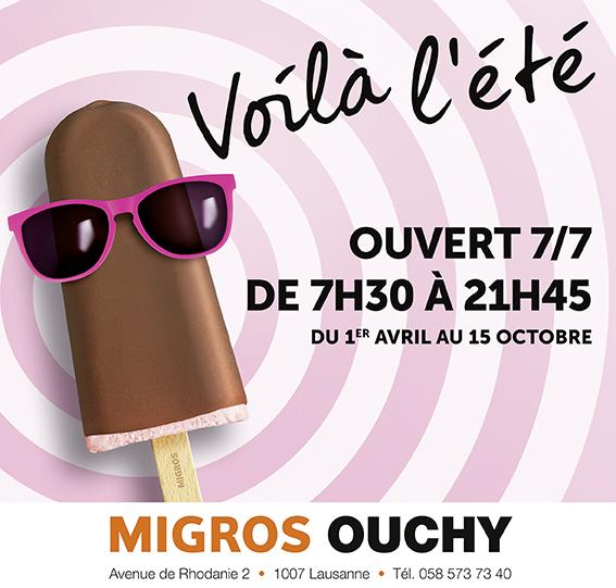 Horaire d'été pour Migros Ouchy
